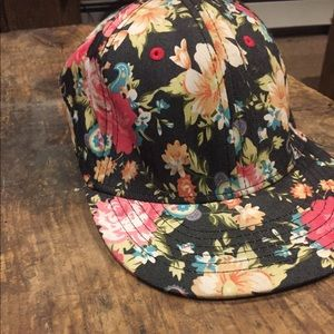Floral fitted flat brim hat